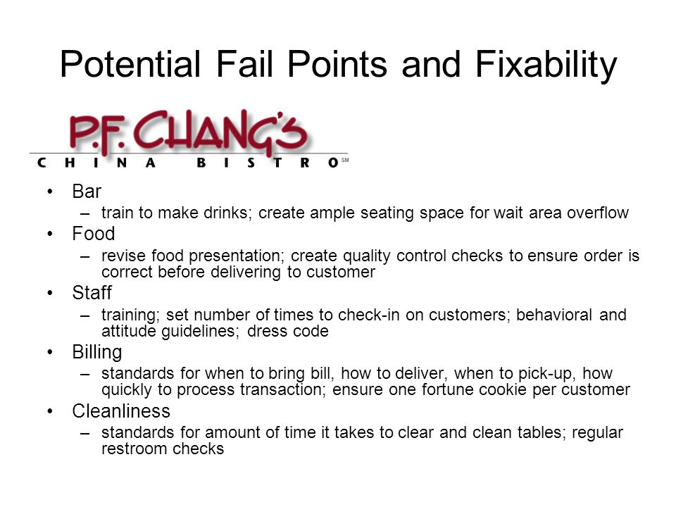 Potential Fail Points and Fixability