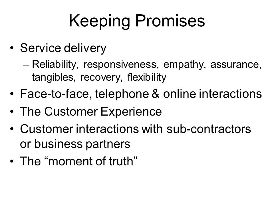 Keeping Promises Service delivery