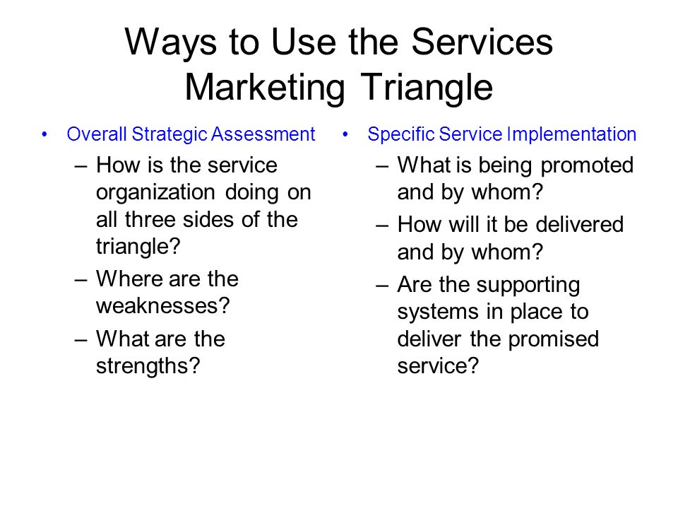 Ways to Use the Services Marketing Triangle