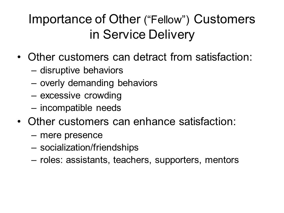 Importance of Other ( Fellow ) Customers in Service Delivery