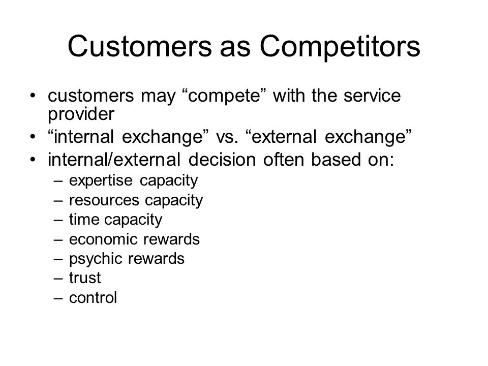 Customers as Competitors