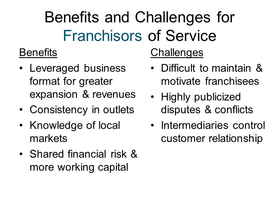 Benefits and Challenges for Franchisors of Service