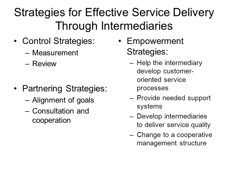 Strategies for Effective Service Delivery Through Intermediaries