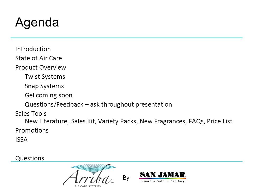 Agenda Introduction State of Air Care Product Overview Twist Systems