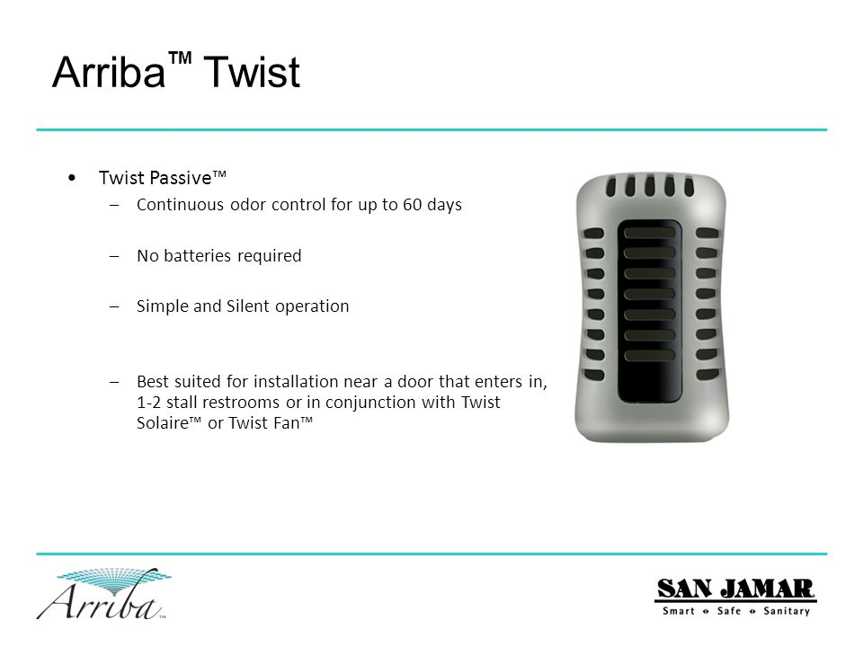 Arriba Twist Twist Passive™ Continuous odor control for up to 60 days