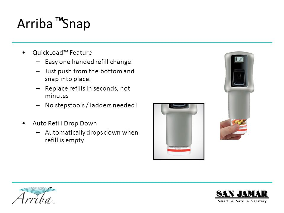 Arriba Snap QuickLoad™ Feature Easy one handed refill change.