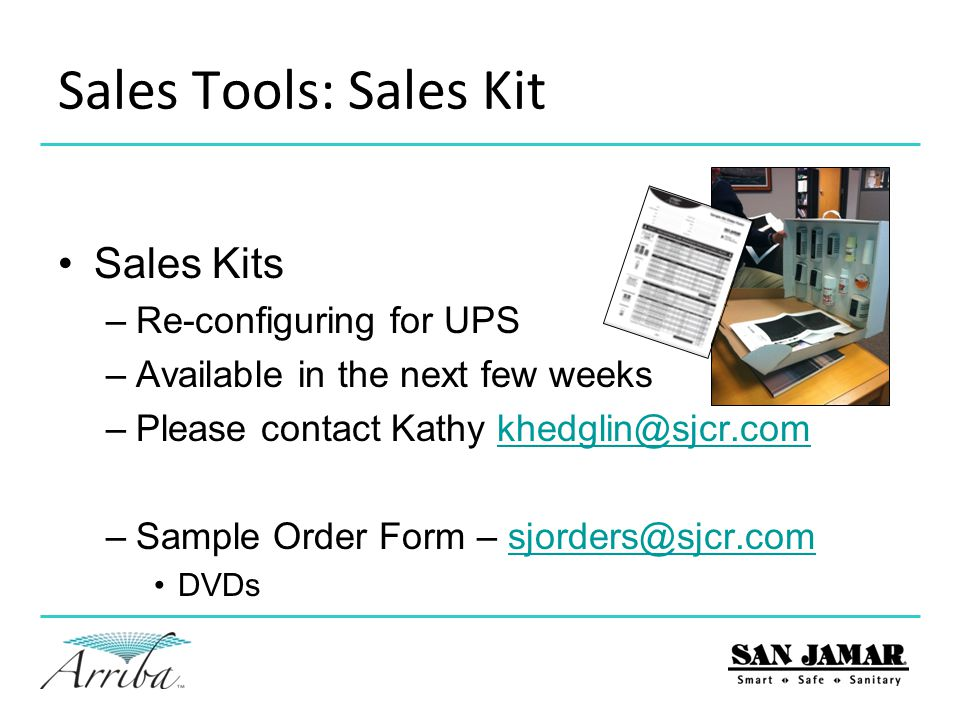 Sales Tools: Sales Kit Sales Kits Re-configuring for UPS