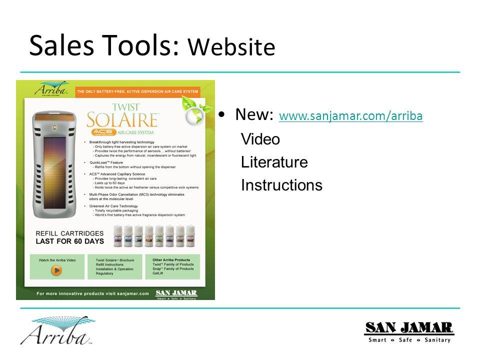 Sales Tools: Website New: www.sanjamar.com/arriba Video Literature