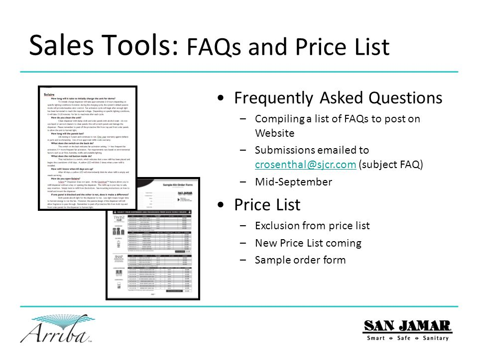 Sales Tools: FAQs and Price List