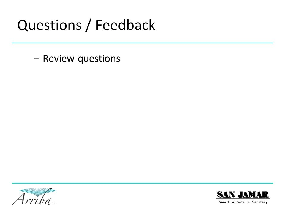 Questions / Feedback Review questions