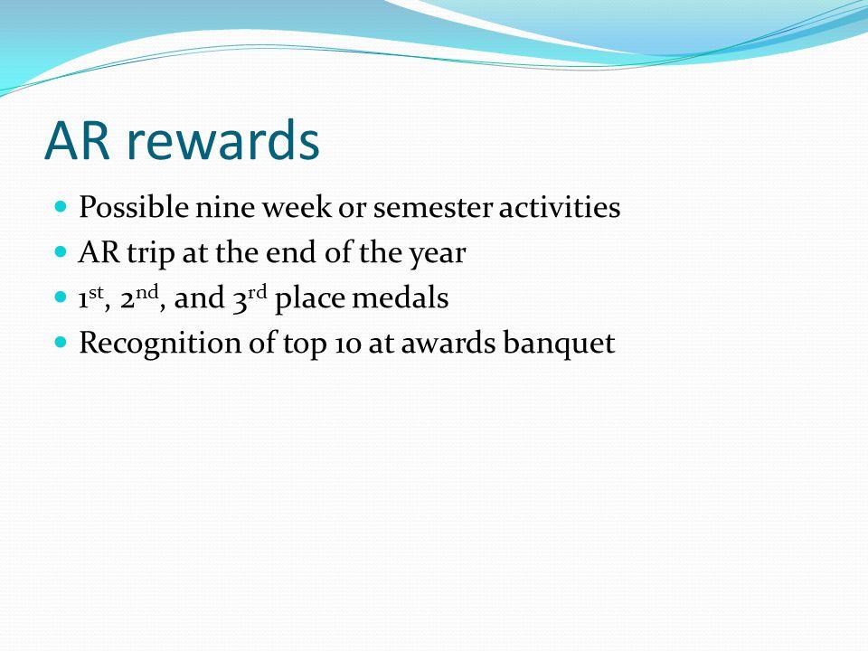 AR rewards Possible nine week or semester activities