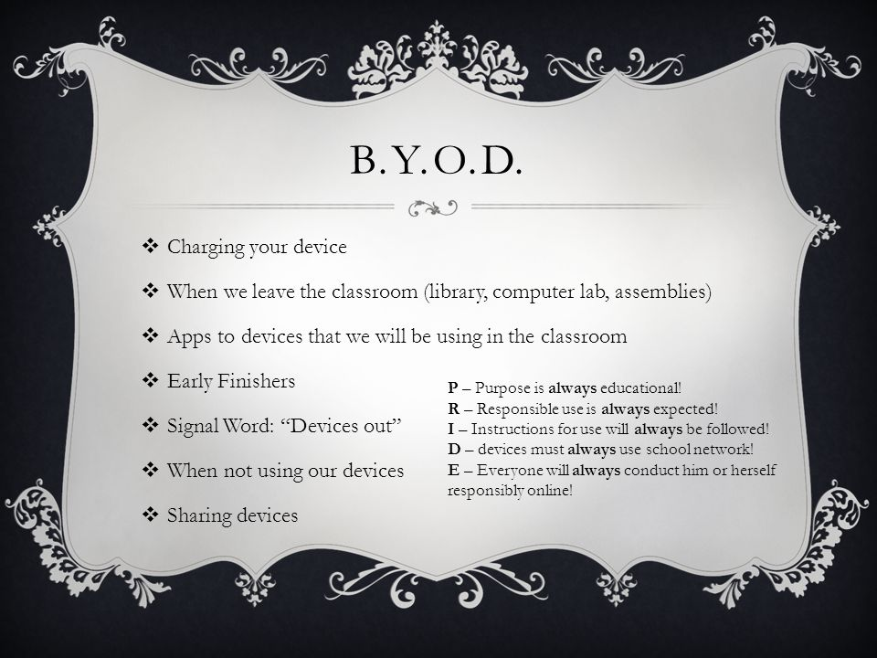 B.Y.O.D. Charging your device