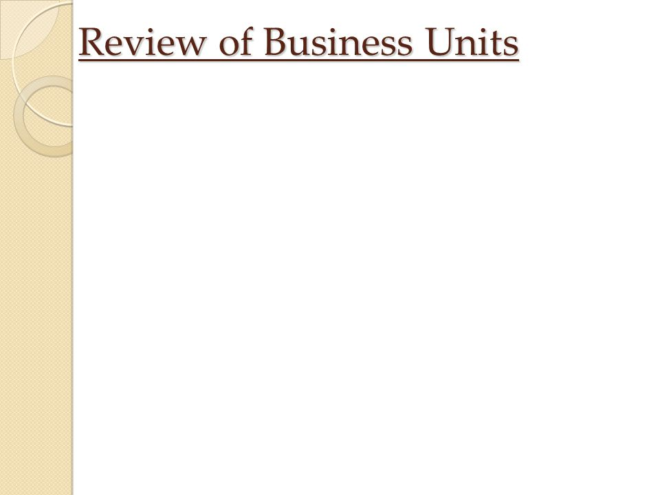 Review of Business Units