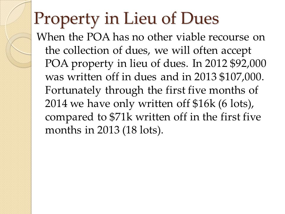 Property in Lieu of Dues