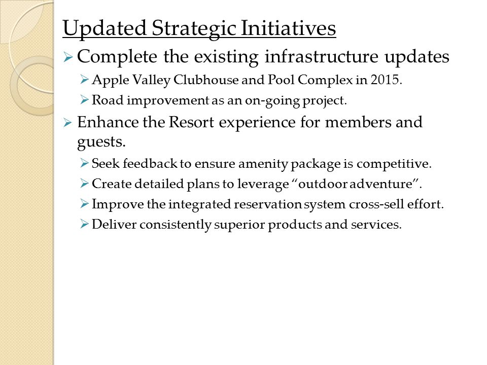 Updated Strategic Initiatives