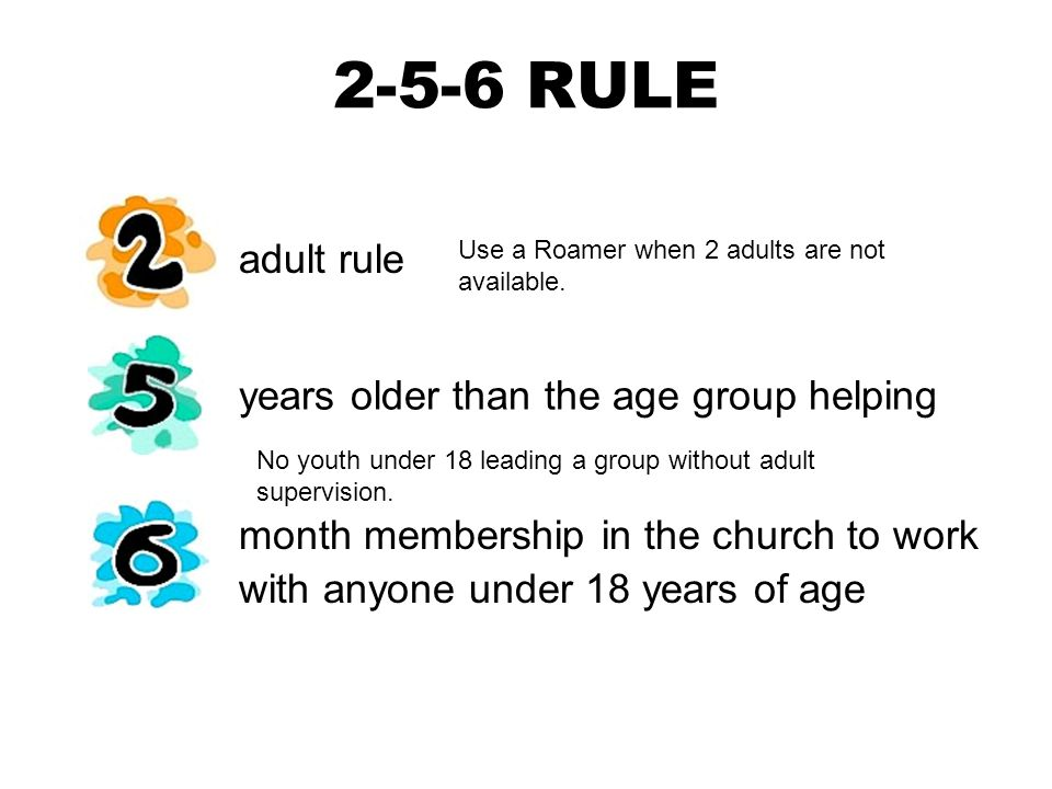 2-5-6 RULE adult rule years older than the age group helping