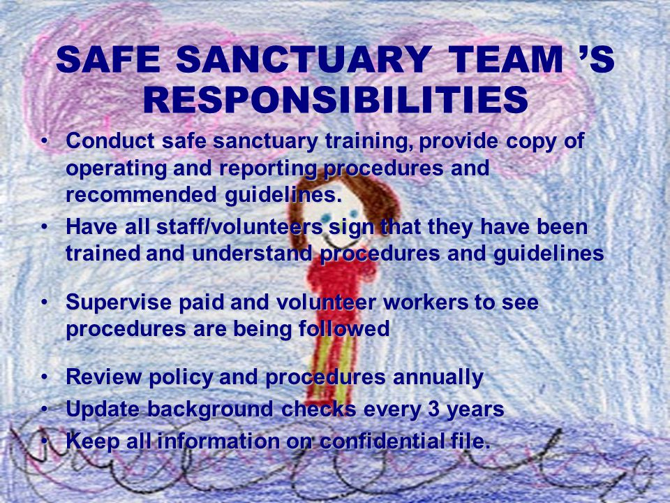 SAFE SANCTUARY TEAM 'S RESPONSIBILITIES