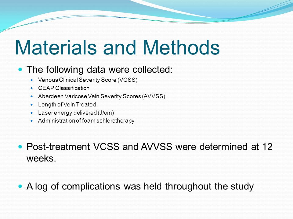 Materials and Methods The following data were collected: