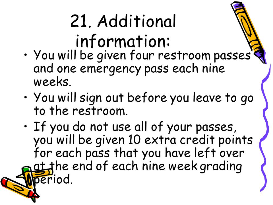 21. Additional information: