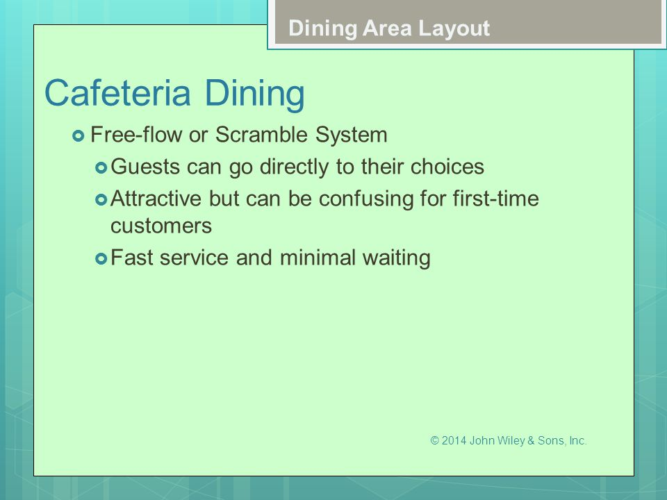 Cafeteria Dining Dining Area Layout Free-flow or Scramble System