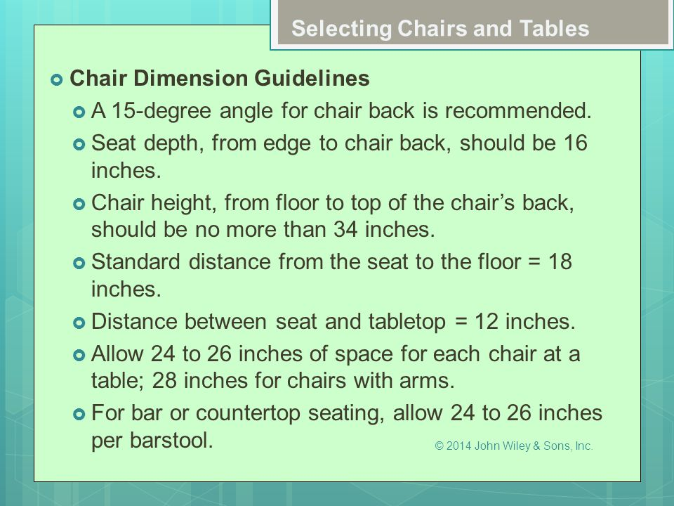 Selecting Chairs and Tables