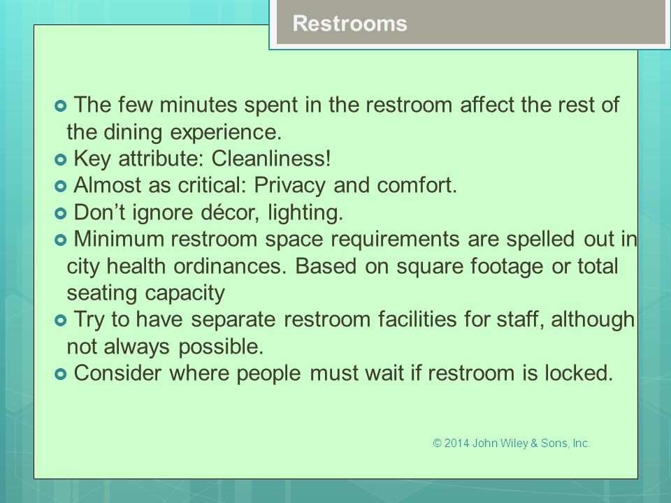 Key attribute: Cleanliness! Almost as critical: Privacy and comfort.