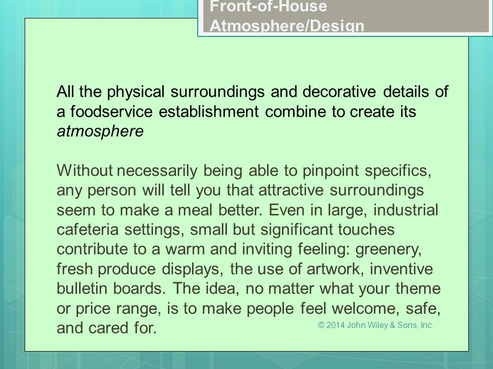 Front-of-House Atmosphere/Design