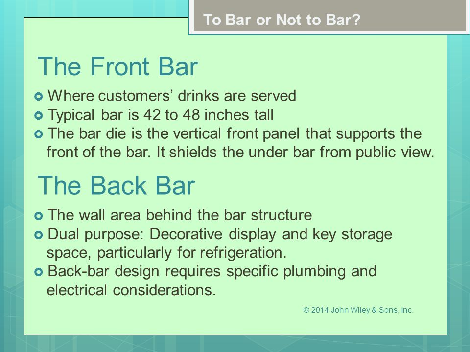 The Front Bar The Back Bar To Bar or Not to Bar