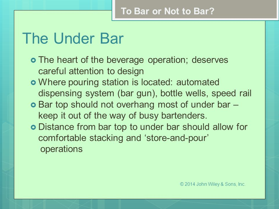 The Under Bar To Bar or Not to Bar
