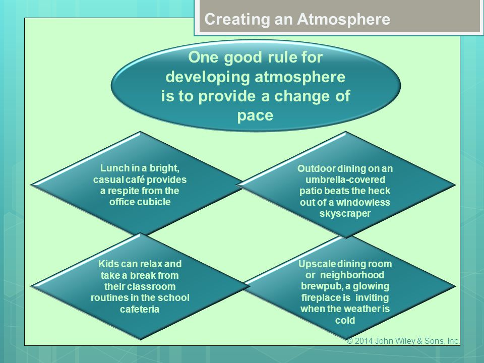 One good rule for developing atmosphere is to provide a change of pace