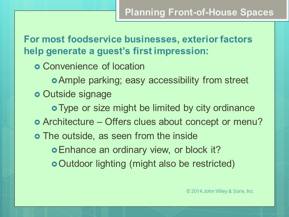 Planning Front-of-House Spaces