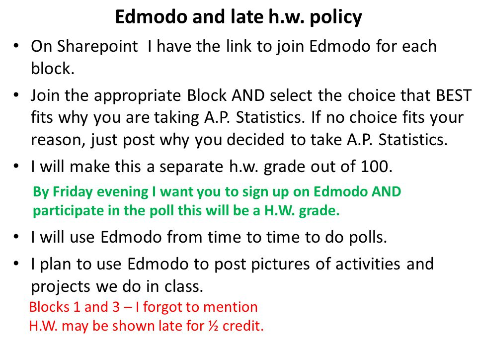 Edmodo and late h.w. policy