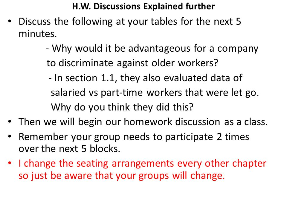 H.W. Discussions Explained further