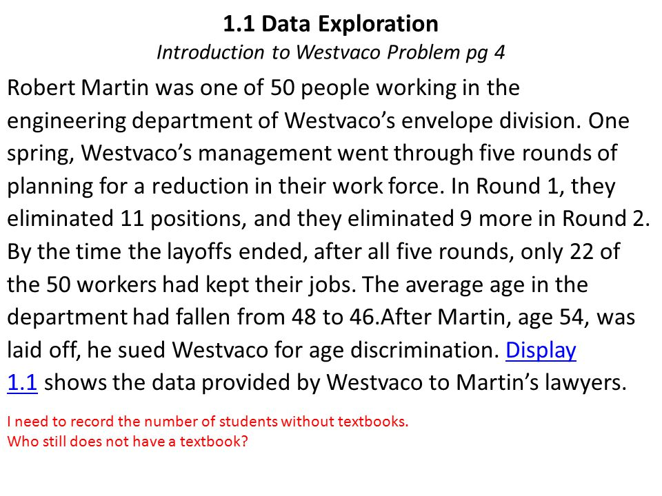 1.1 Data Exploration Introduction to Westvaco Problem pg 4