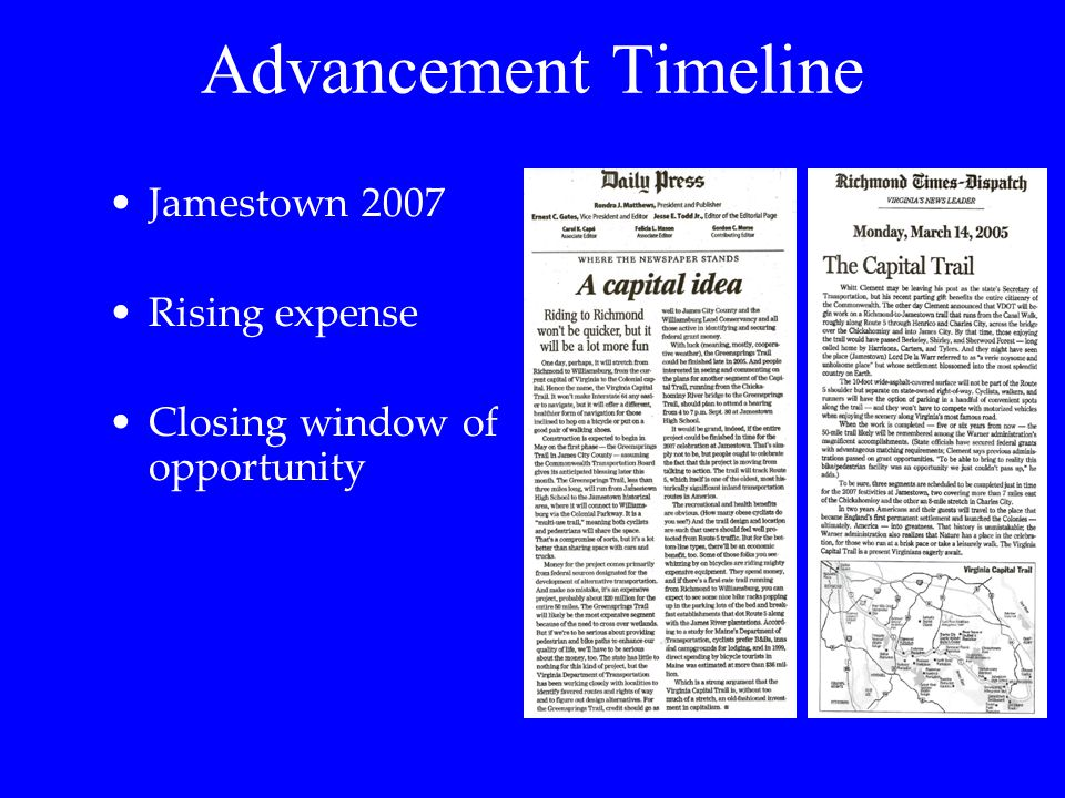Advancement Timeline Jamestown 2007 Rising expense