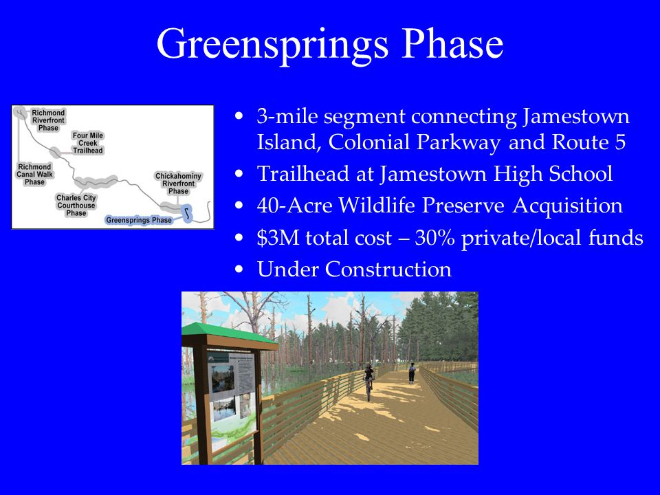 Greensprings Phase 3-mile segment connecting Jamestown Island, Colonial Parkway and Route 5. Trailhead at Jamestown High School.