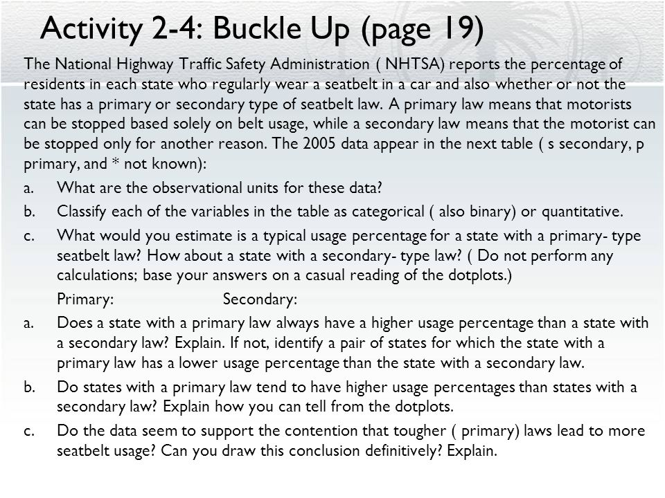 Activity 2-4: Buckle Up (page 19)