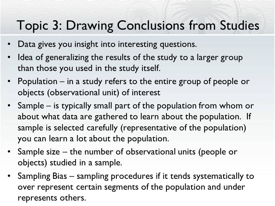 Topic 3: Drawing Conclusions from Studies