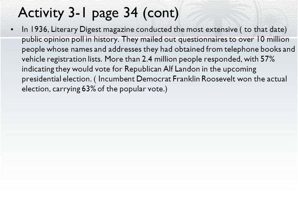Activity 3-1 page 34 (cont)
