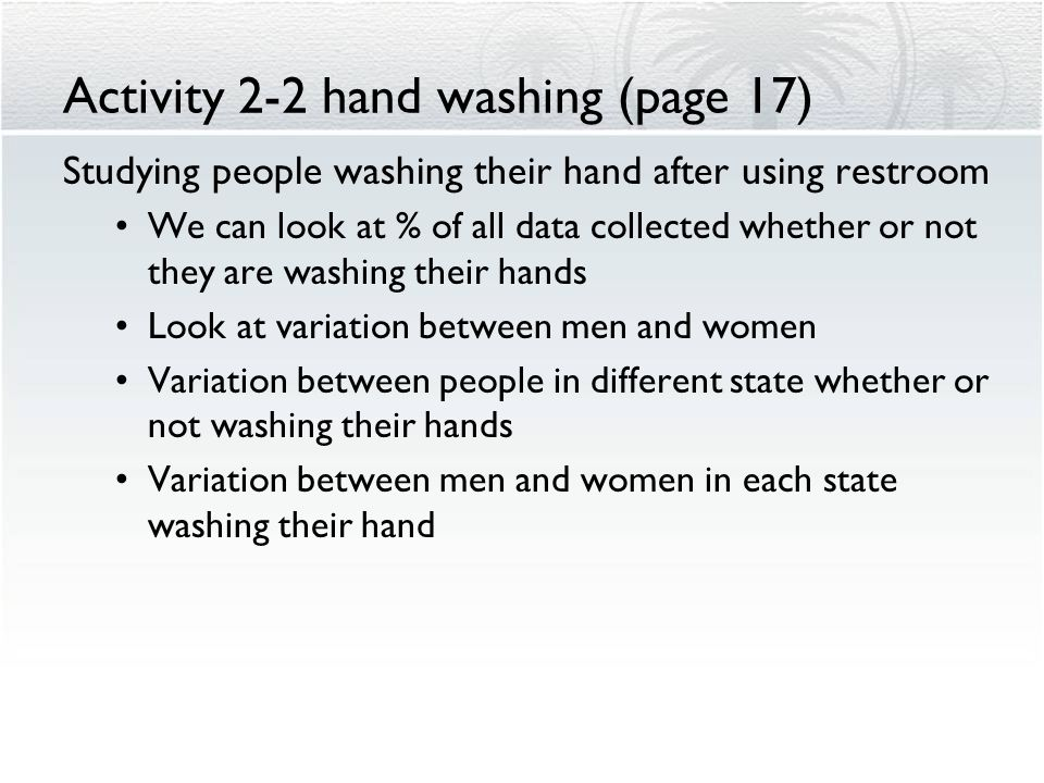 Activity 2-2 hand washing (page 17)