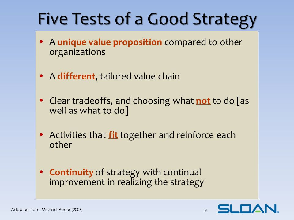 Five Tests of a Good Strategy