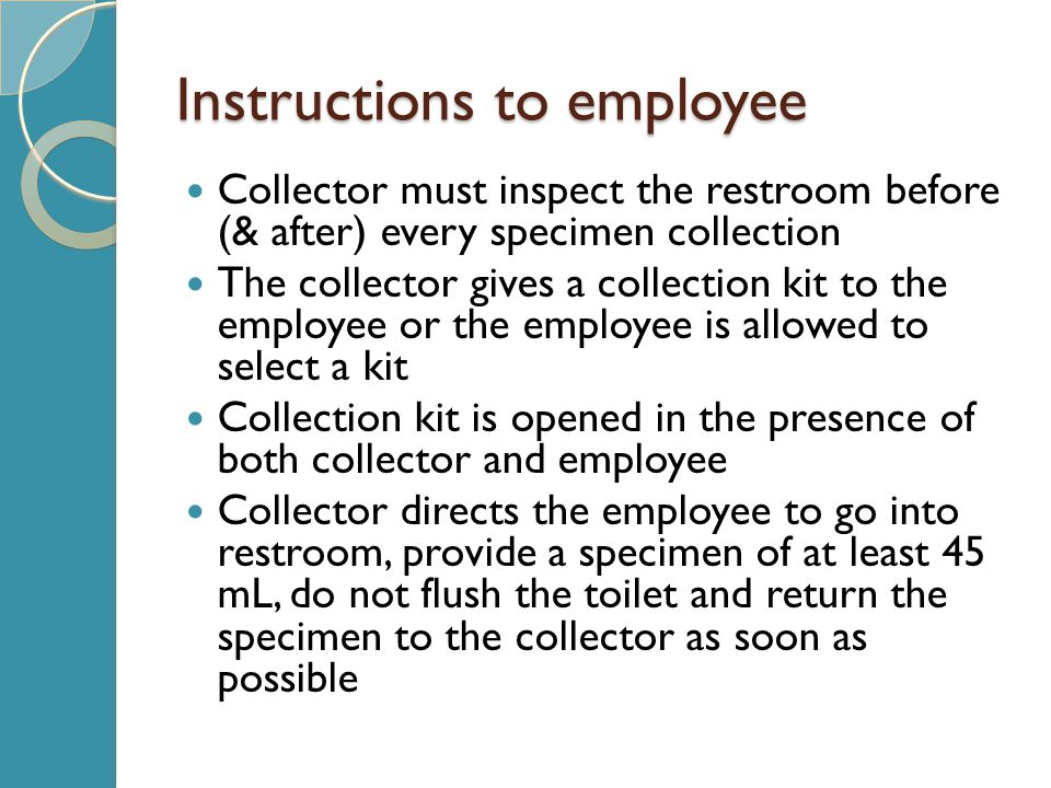Instructions to employee