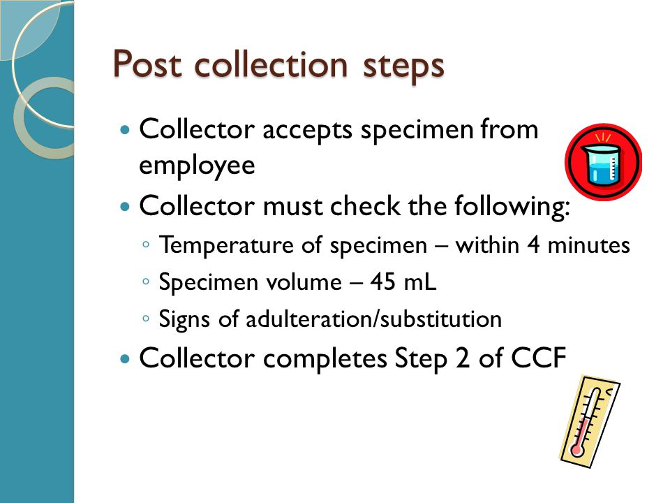 Post collection steps Collector accepts specimen from employee