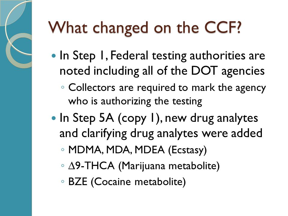 What changed on the CCF In Step 1, Federal testing authorities are noted including all of the DOT agencies.