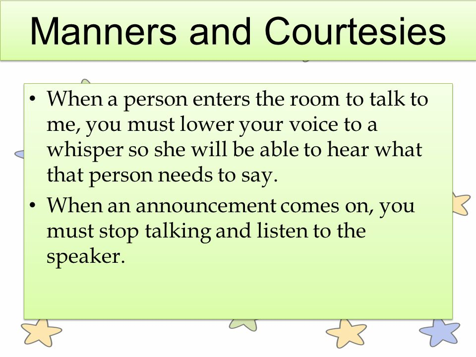 Manners and Courtesies