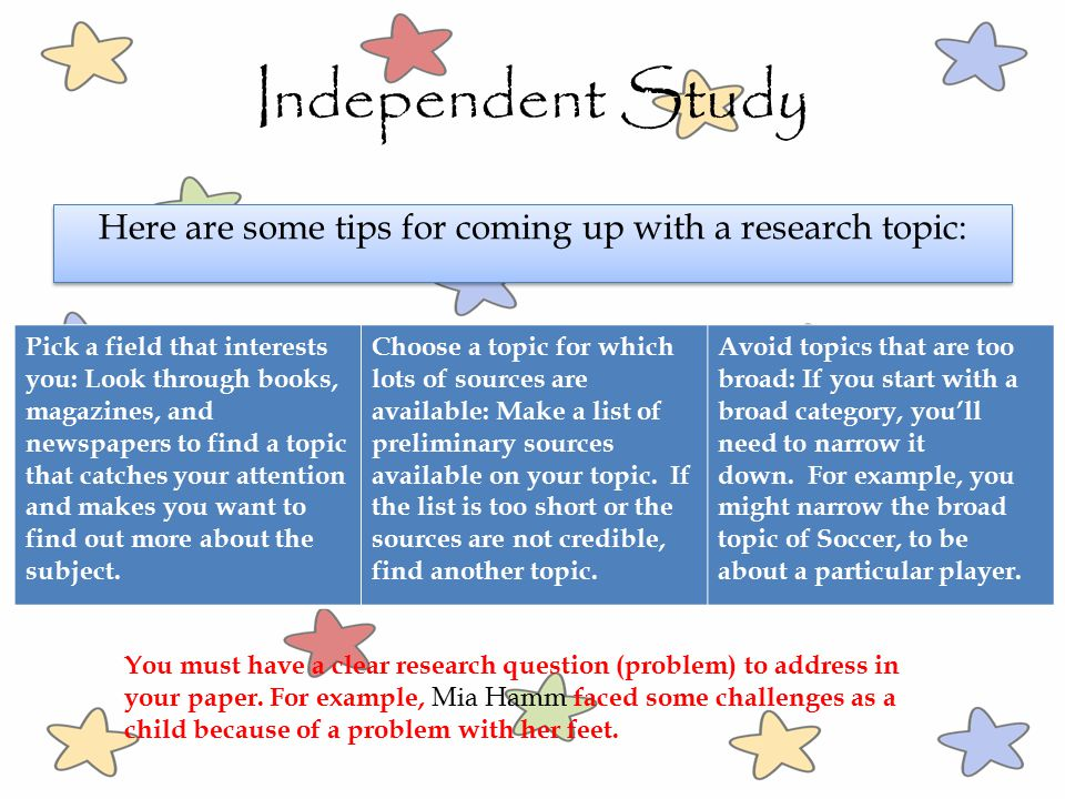 Here are some tips for coming up with a research topic: