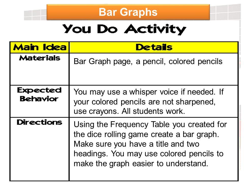 Bar Graphs Bar Graph page, a pencil, colored pencils
