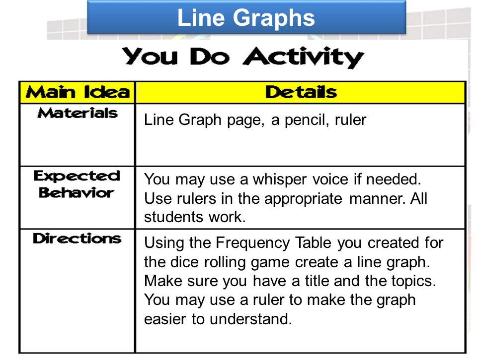 Line Graphs Line Graph page, a pencil, ruler
