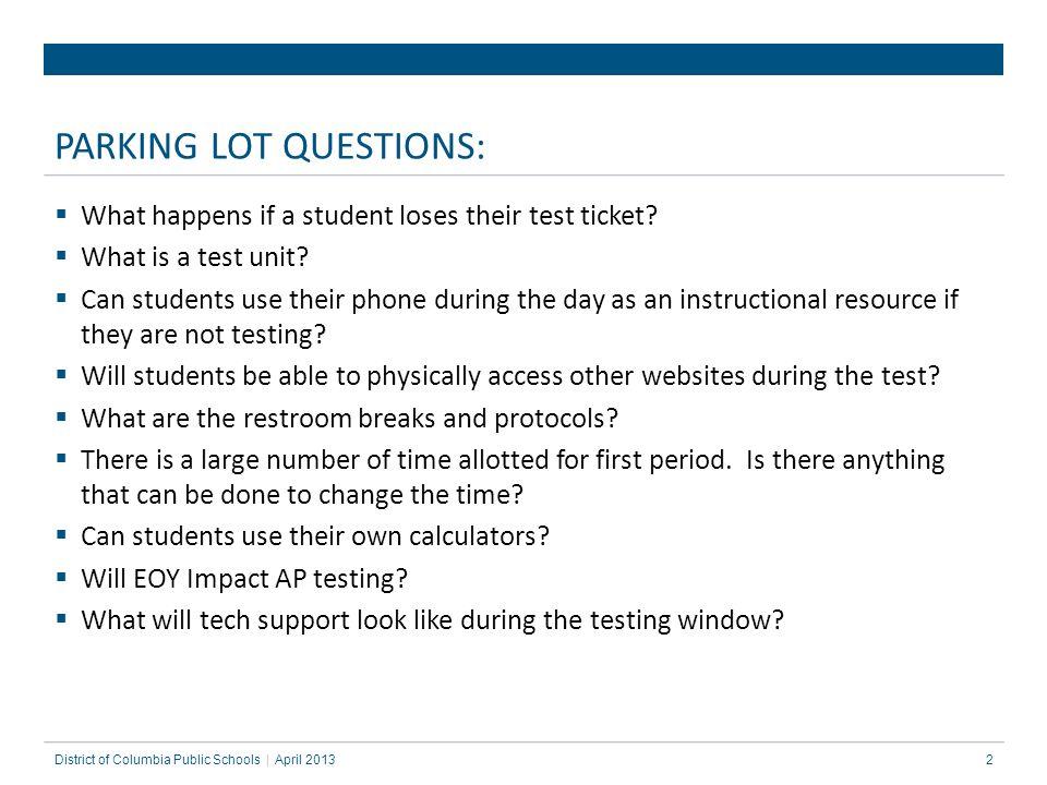 PARKING LOT QUESTIONS: