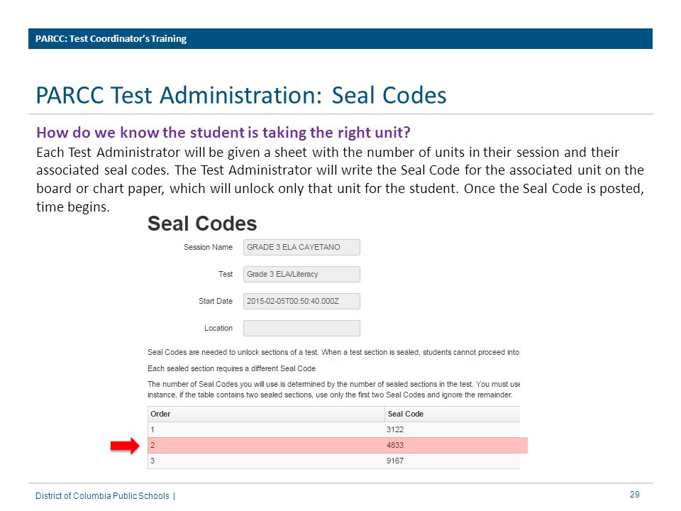 PARCC Test Administration: Seal Codes